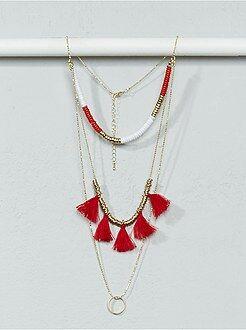 Mujer Collar largo con cadenas, abalorios y borlas