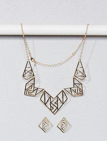 Collar y pendientes con forma geométrica - Kiabi