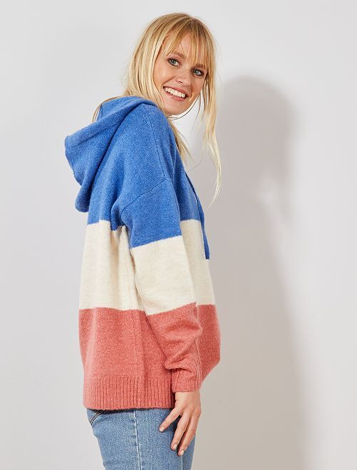 Colour block hooded sweater                                         AZUL Mujer talla 34 a 48