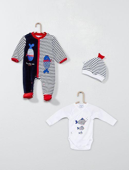 Conjunto body + pijama +gorro 'Absorba'                             azul