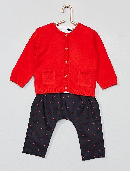 Conjunto camiseta + chaleco + pantalón                             ROJO Bebé niña