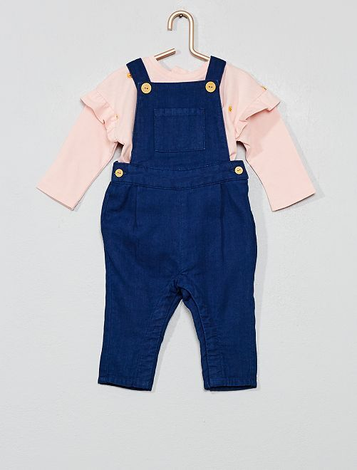 Conjunto camiseta + peto 'huerto'                             ROSA Bebé niña
