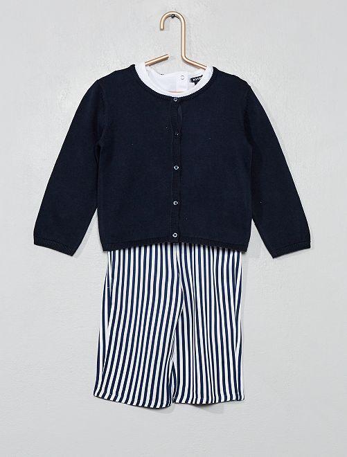 Conjunto camiseta+chaleco+pantalón                                         BLANCO Bebé niña