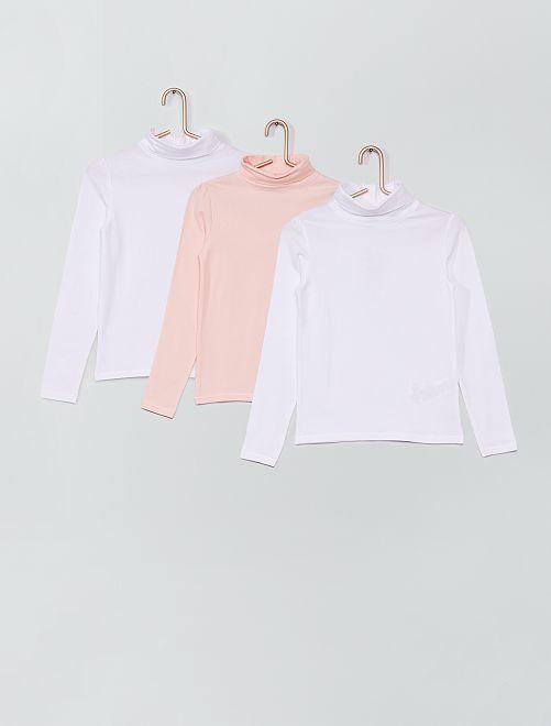 Conjunto de 2 camisetas de cuello vuelto                     rosa blanco