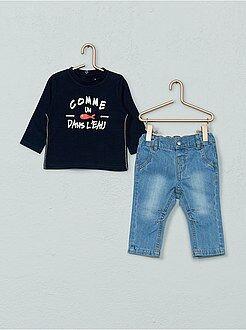 Niño 0-36 meses - Conjunto de 2 piezas camiseta + vaquero - Kiabi