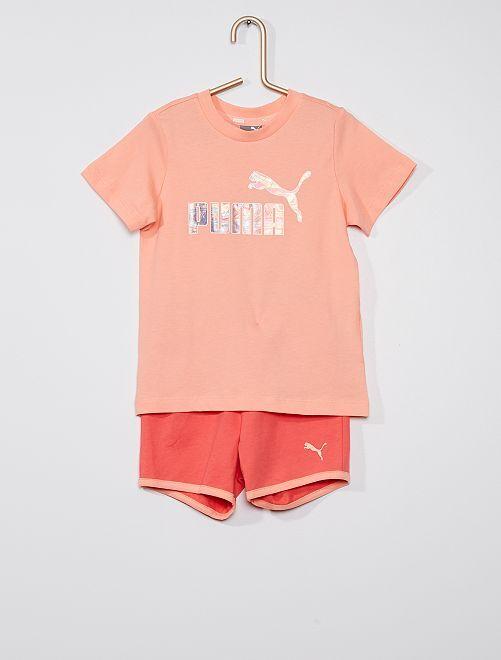 Conjunto de 2 piezas con camiseta + pantalón corto 'PUMA'                             BEIGE