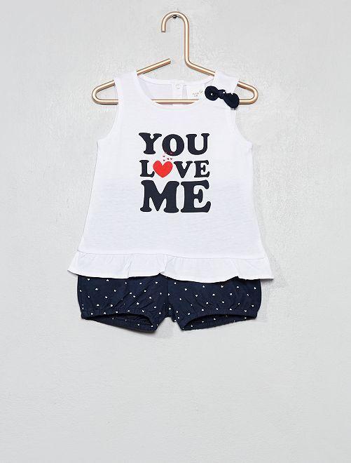 Conjunto de 2 piezas con camiseta y short                                                                 BLANCO Bebé niña