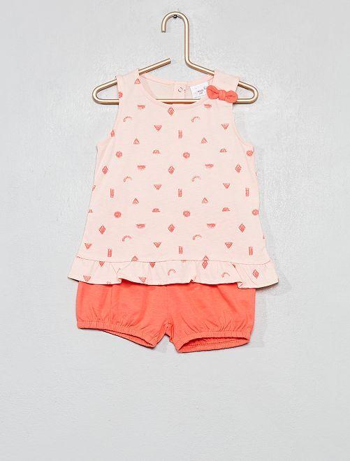 Conjunto de 2 piezas con camiseta y short                                                                 ROSA Bebé niña