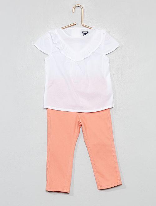 Conjunto de 2 piezas con pantalón y blusa                             BLANCO Bebé niña
