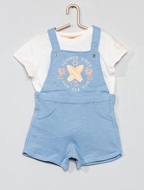 Conjunto de 2 piezas con peto + camiseta                             AZUL Bebé niño
