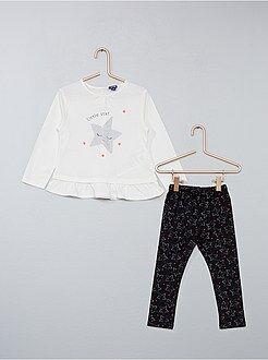 Conjuntos, ranitas blanco - Conjunto de 2 piezas túnica + legging - Kiabi