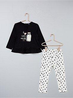 Conjuntos, ranitas negro - Conjunto de 2 piezas túnica + legging - Kiabi