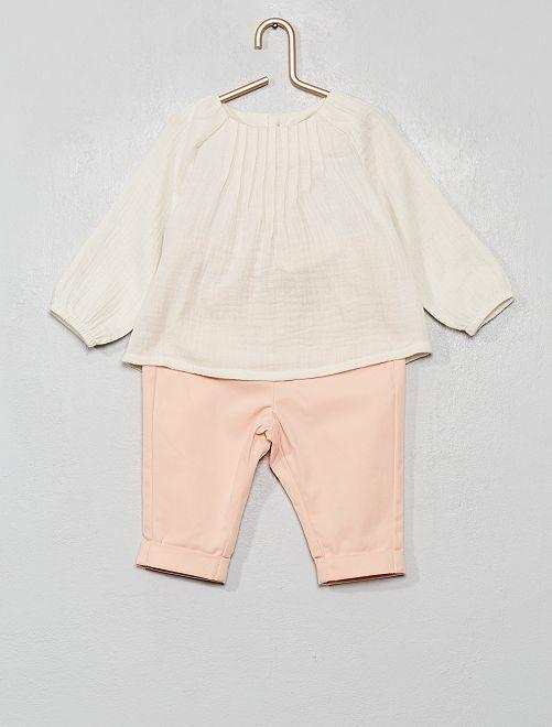 Conjunto de blusa + pantalón                                         BLANCO