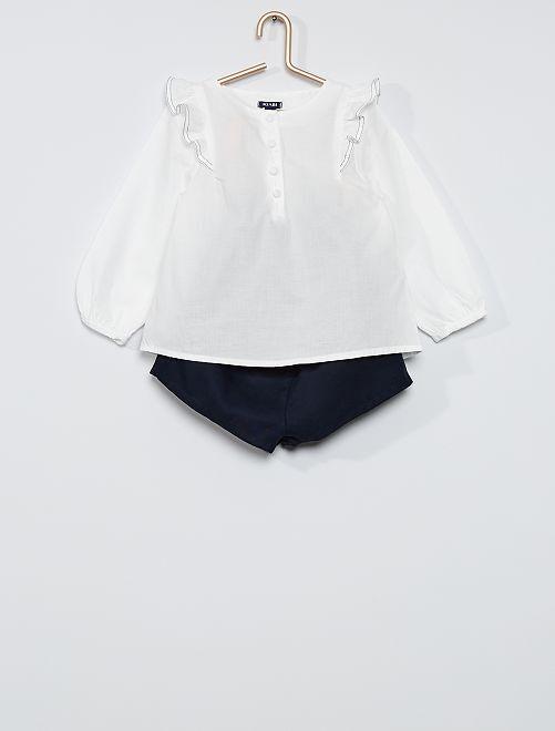 Conjunto de blusa + pantalón corto                             AZUL