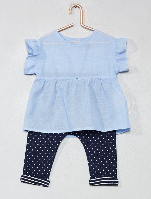 Conjunto de blusa + pantalón sarouel de algodón puro                             AZUL Bebé niña