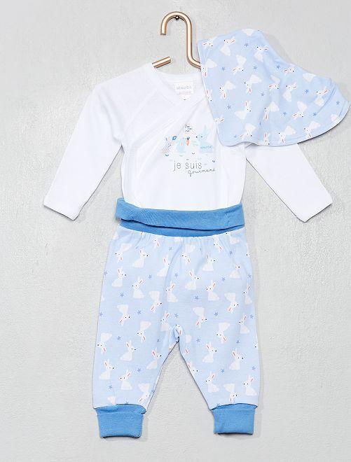 Conjunto de body + pantalón + babero 'Absorba'                             azul/blanco