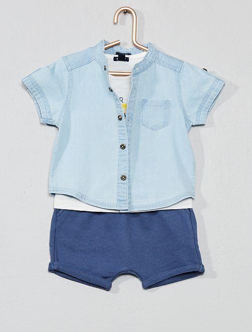 Conjunto de camisa + camiseta + bermudas                             BLANCO Bebé niño