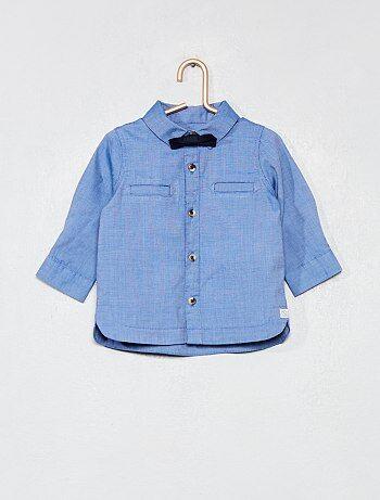 12b9271318b37 Niño 0-36 meses - Conjunto de camisa + pajarita extraíble - Kiabi