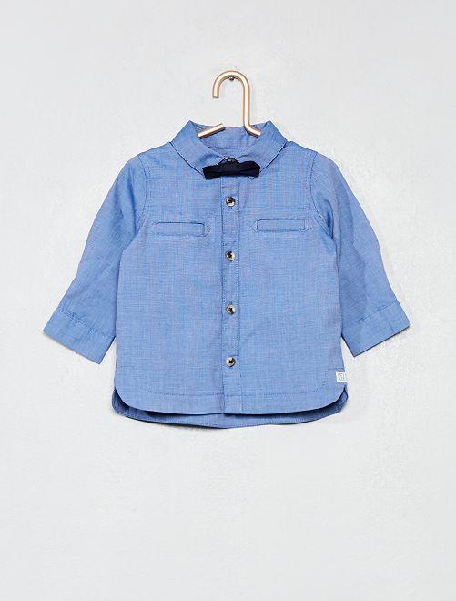 Conjunto de camisa + pajarita extraíble                             azul Bebé niño