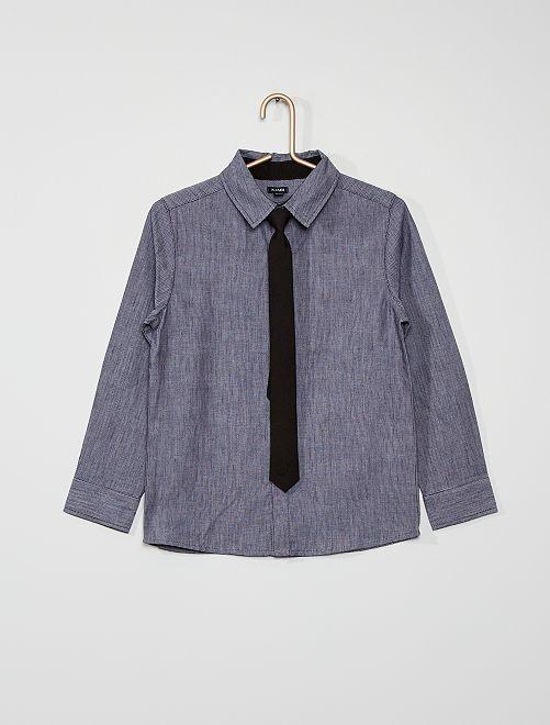 Conjunto de camisa y corbata                                         azul