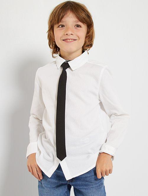 Conjunto de camisa y corbata                                         blanco