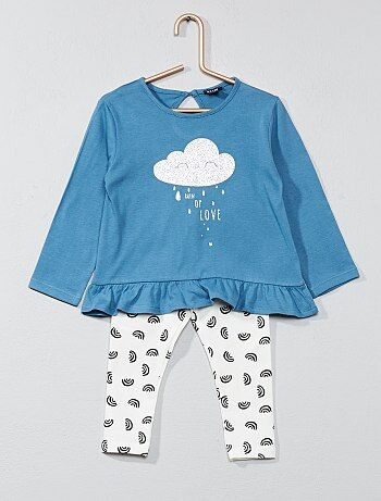 Niña 0-36 meses - Conjunto de camiseta con faldón + legging - Kiabi