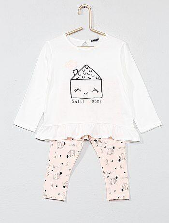 Conjunto de camiseta con faldón + legging - Kiabi