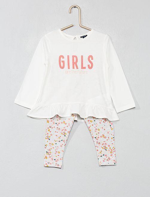 Conjunto de camiseta con faldón + legging                             BLANCO Bebé niña