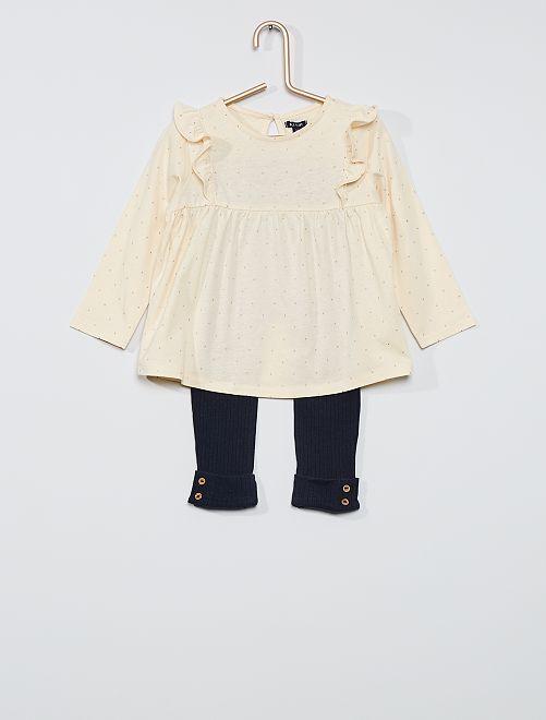 Conjunto de camiseta con volante + legging de canalé                                             BEIGE