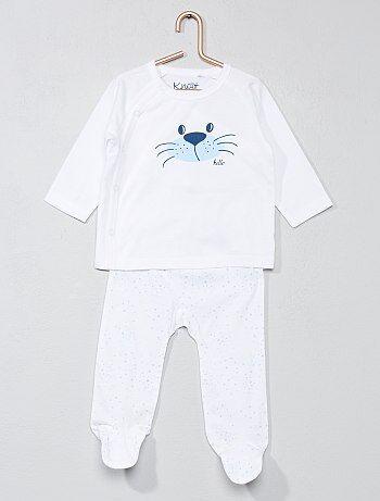 Conjunto de camiseta cruzada + pantalón estampado 'gato' - Kiabi