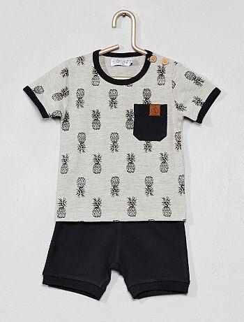 Niño 0-36 meses - Conjunto de camiseta de  piñas  + pantalón corto b291367b7f2
