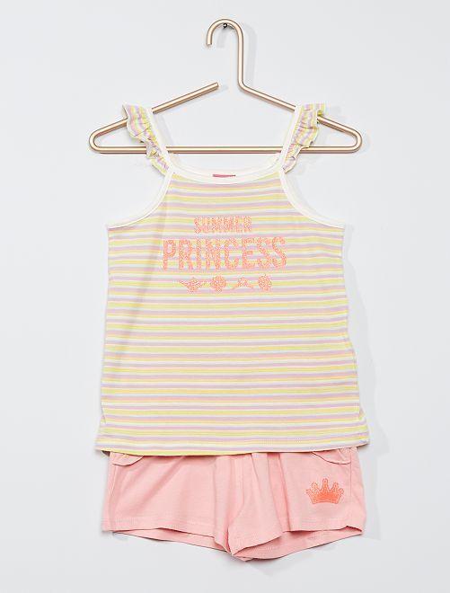 Conjunto de camiseta de tirantes + short 'Disney Princess'                                         ROSA
