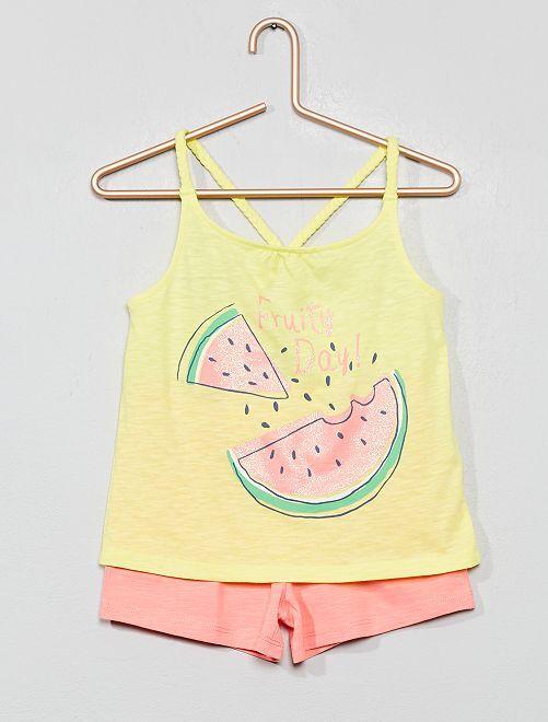 Conjunto de camiseta de tirantes y short de playa                                                     AMARILLO Chica