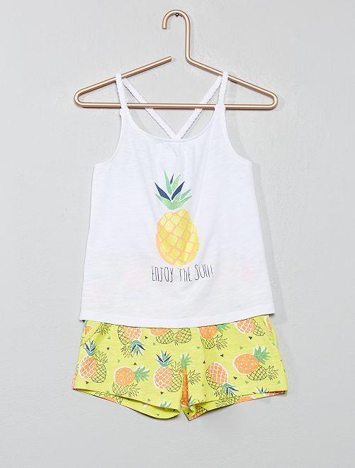 Conjunto de camiseta de tirantes y short de playa                                                                 BLANCO Chica