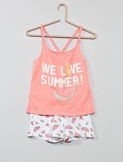 Conjunto de camiseta de tirantes y short de playa                                                                 ROSA Chica