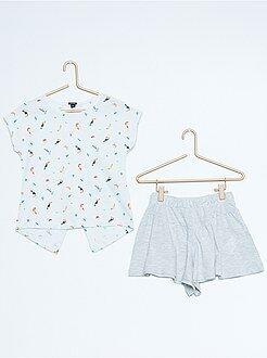 Conjuntos - Conjunto de camiseta estampada + falda pantalón