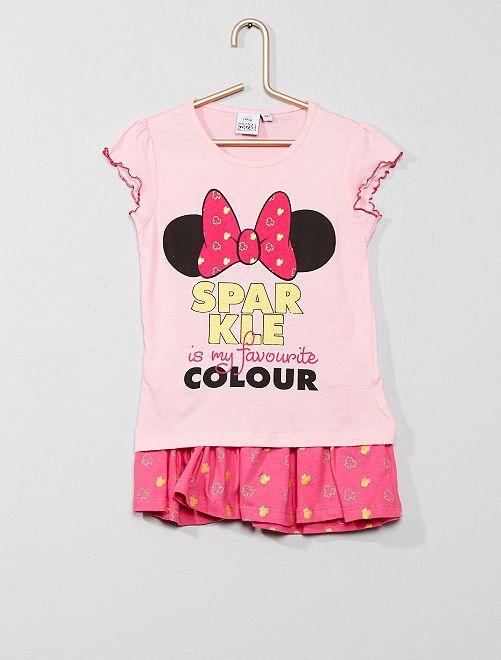 Conjunto de camiseta + falda 'Minnie'                     rosa Chica