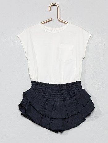 c602fa70a34 Niña 0-36 meses - Conjunto de camiseta + falda pantalón con volantes - Kiabi
