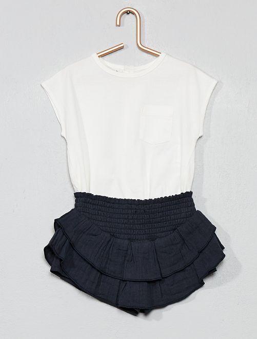 Conjunto de camiseta + falda pantalón con volantes                             BLANCO Bebé niña