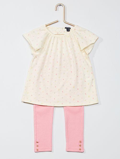 Conjunto de camiseta + legging                             ROSA