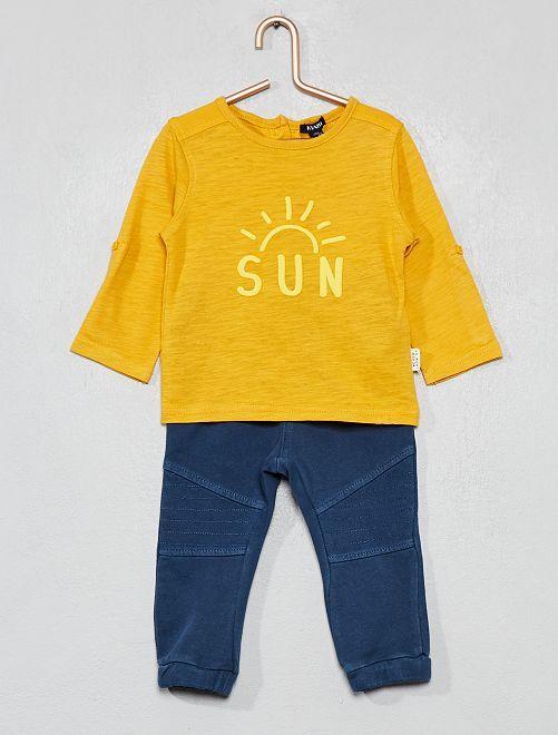 Conjunto de camiseta + pantalón                                 AMARILLO Bebé niño