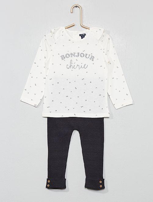 Conjunto de camiseta + pantalón                                         BLANCO Bebé niña