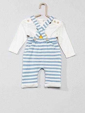 5184601c2 Niño 0-36 meses - Conjunto de camiseta + pantalón con tirantes - Kiabi