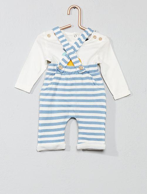 Conjunto de camiseta + pantalón con tirantes                             crudo/azul Bebé niño