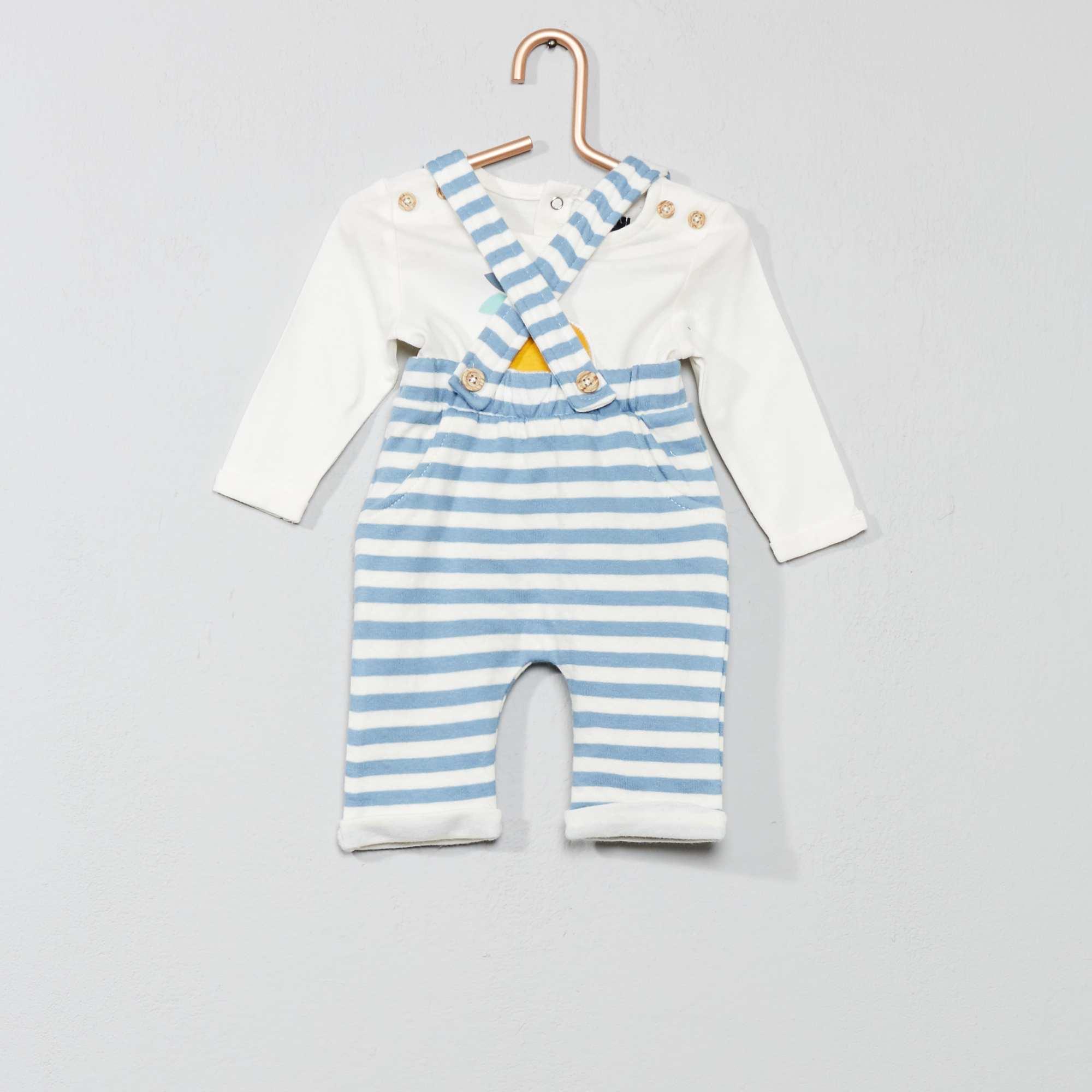 a1f778f53 Conjunto de camiseta + pantalón con tirantes crudo azul Bebé niño. Loading  zoom