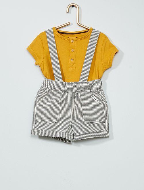 Conjunto de camiseta + pantalón corto con tirantes                             AMARILLO