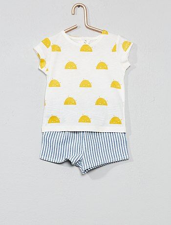 c1b01027f Niña 0-36 meses - Conjunto de camiseta + pantalón corto de rayas - Kiabi