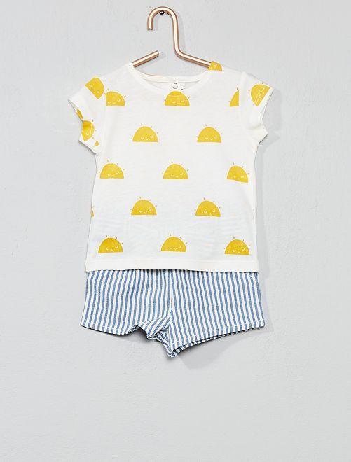 Conjunto de camiseta + pantalón corto de rayas                                         BLANCO Bebé niña