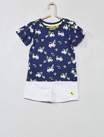 Niño 0-36 meses - Conjunto de camiseta + pantalón corto estampado  camiones  4fe914cb2ba