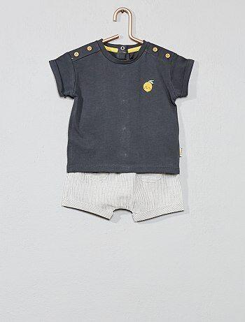 7902f3d7ca0 Niño 0-36 meses - Conjunto de camiseta + pantalón corto  limón  -